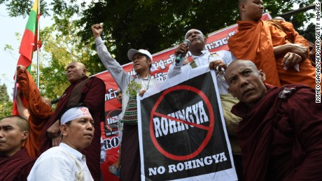 Supporters and monks belonging to the hardline Buddhist group Mabatha rally outside the US embassy in Yangon on April 28, 2016.   The Buddhist ultra-nationalist group denounce the US embassy recent statement related to the deaths of the Rohingya Muslim minority from the April 19, 2016 boat accident in Sittwe.   / AFP / ROMEO GACAD        (Photo credit should read ROMEO GACAD/AFP/Getty Images)