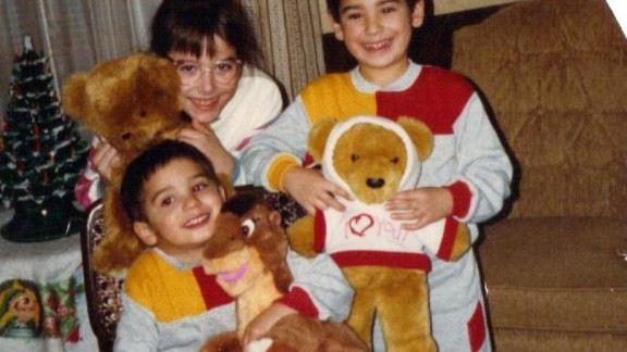 The first Thanksgiving after their parents divorced in 1988, Zack McDermott (far right) is pictured with his siblings, Alexa and Adam.