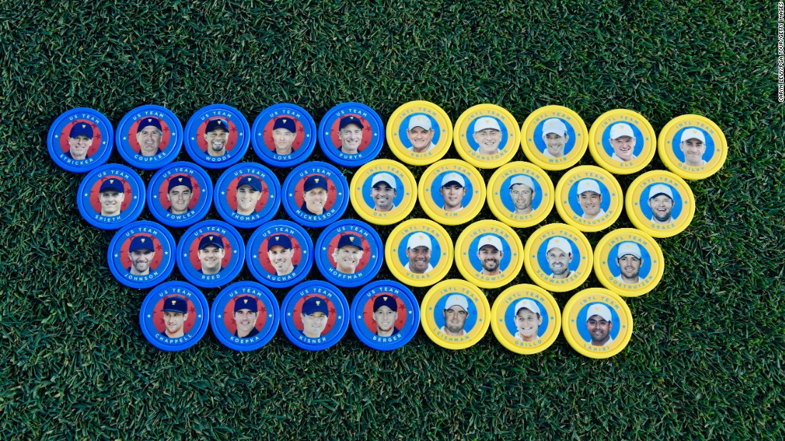 U.S. Team and International Team poker chips are seen during the second round of the Presidents Cup at Liberty National Golf Club on September 29, 2017, in Jersey City, New Jersey. (Photo by Caryn Levy/PGA TOUR)