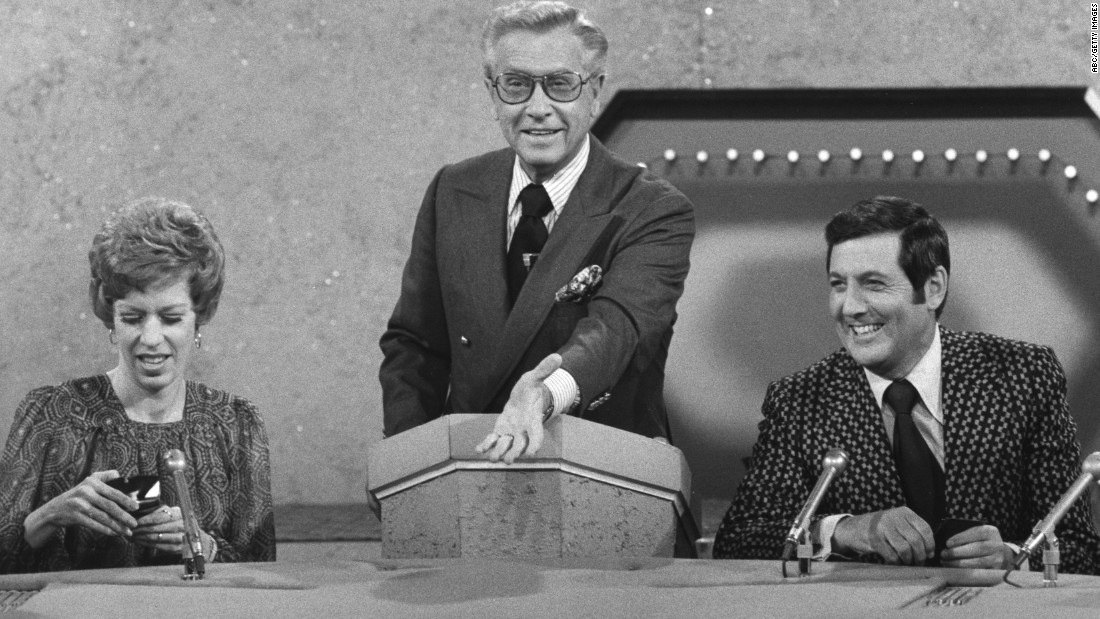 "Monty Hall is pictured with Carol Burnett and Allen Ludden in an episode of the game show ""Password"" on June 11, 1973."