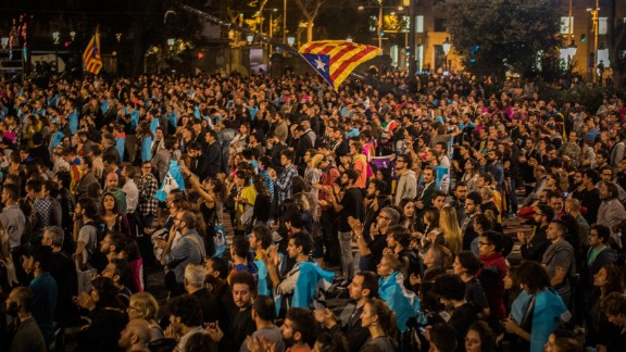 Independence supporters gather in Barcelona's main square on Sunday.
