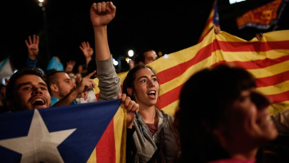 Independence supporters gather in Barcelona after Catalonia's separatist government held a referendum to decide if the region should split from Spain on Sunday, October 1.