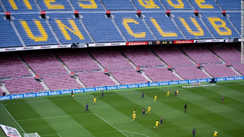 Fc barcelona bars fans from match amid catalan turmoil cnn players of fc barcelona and ud las palmas are seen during the la liga match between stopboris Choice Image