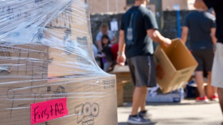 A pallet of supplies sits ready to be shipped to Puerto Rico as Puerto Ricovery volunteers continue to sort more donated goods.