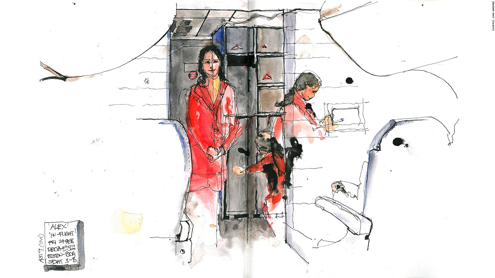 Painting On Planes Stunning Sketches Of Airplane Cabins Cnn Travel