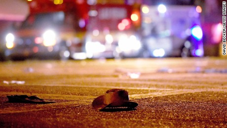 LAS VEGAS, NV - OCTOBER 02:  A cowboy hat lays in the street after shots were fired near a country music festival on October 1, 2017 in Las Vegas, Nevada. A gunman has opened fire on a music festival in Las Vegas, leaving at least 20 people dead and more than 100 injured. Police have confirmed that one suspect has been shot. The investigation is ongoing. (Photo by David Becker/Getty Images)