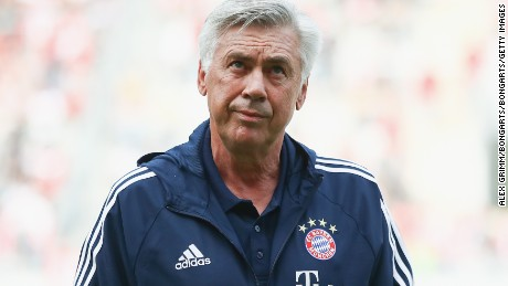 OFFENBACH, GERMANY - AUGUST 30:  Head coach Carlo Ancelotti of Muenchen reacts during a friendly match between Kickers Offenbach and FC Bayern Muenchen at Sparda-Bank-Hessen-Stadion on August 30, 2017 in Offenbach, Germany.  (Photo by Alex Grimm/Bongarts/Getty Images)