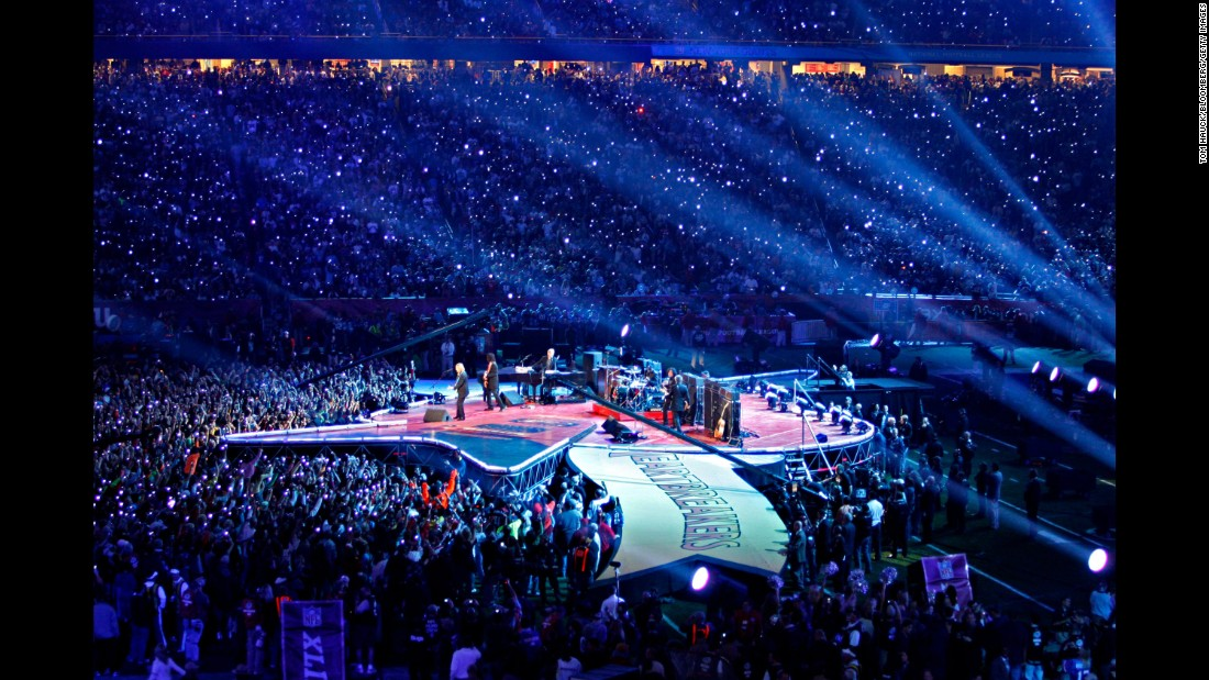 Petty and the Heartbreakers perform during the Super Bowl halftime show in February 2008.