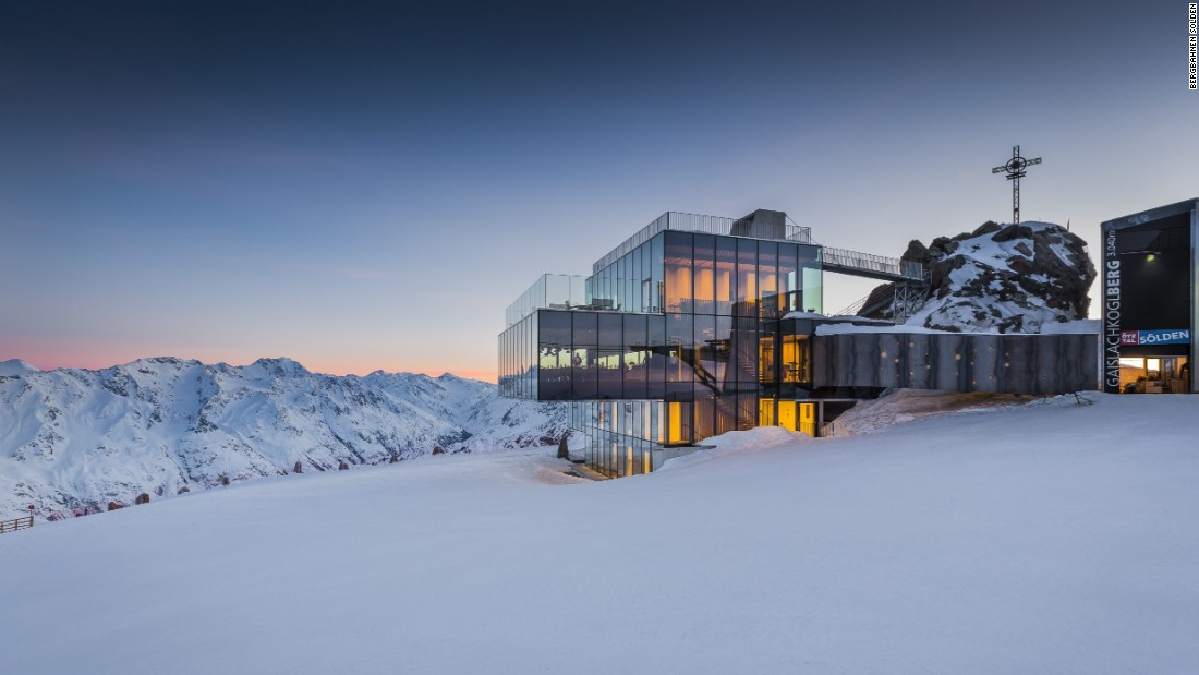 "The Ice Q restaurant, used in the James Bond movie ""Spectre,"" lies on the summit of the Gaislachkogl mountain and is one of about 30 huts and eateries dotted around the ski area."