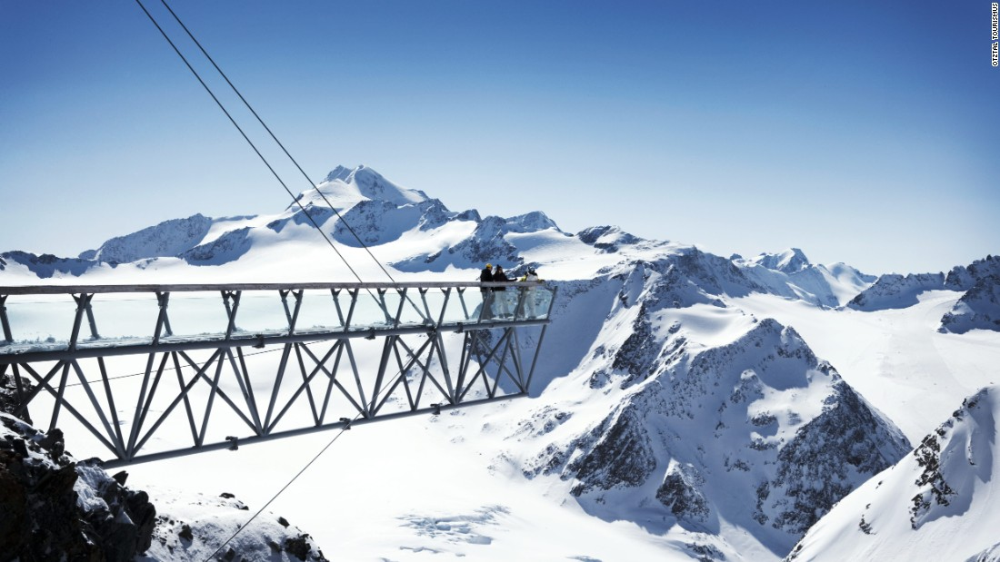 Above the Tiefenbach glacier a 15-meter pyramid stands sentinel over a steel and glass footbridge which extends 20 meters over a gaping abyss with the glacier far below and offers up-close views of the Wildspitze.