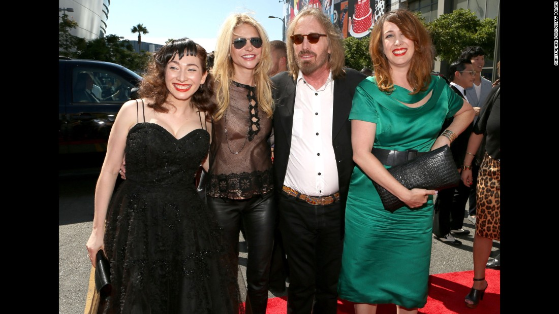 Petty, flanked by his wife, Dana, and his eldest daughter Adria on the right, arrive at the 2012 MTV Video Music Awards along with musician Regina Spektor, left.