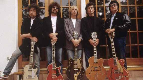 Petty, center, poses with other members of the Traveling Wilburys, a supergroup that also included, from left, Bob Dylan, Jeff Lynne, George Harrison and Roy Orbison.