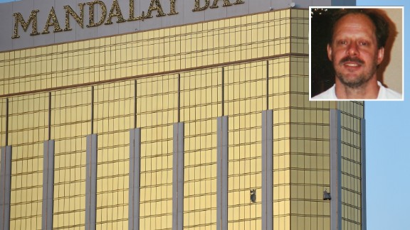 Mandalay Bay windows, inset with Las Vegas killer Stephen Paddock