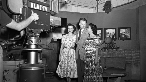"White, left, and actor Eddie Albert host a broadcast of ""Hollywood on Television,"" which was a live daily talk show in Los Angeles."