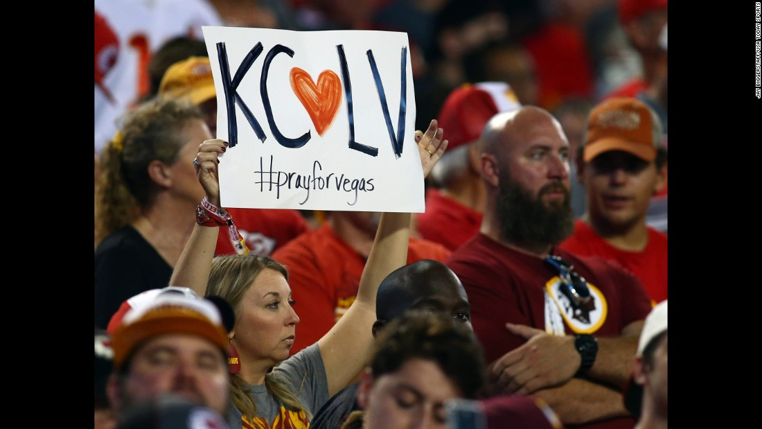 "A Kansas City Chiefs fan holds up a sign during the ""Monday Night Football"" game between the Chiefs and the Washington Redskins."