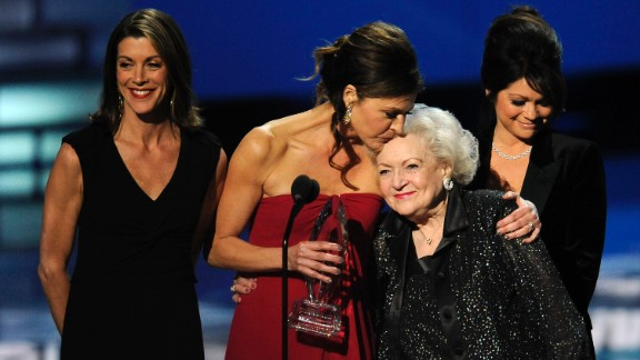 "White joins her ""Hot in Cleveland"" co-stars Wendie Malick, Jane Leeves and Valerie Bertinelli as they accept an award at the People"