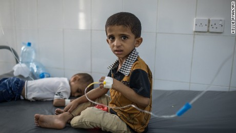 Mohammed Alawi Hadi, 6, and his brother Salih Alawi Hadi, 3, are treated for cholera at IRC-supported Al Sadaqa Hospital in Aden, Yemen.