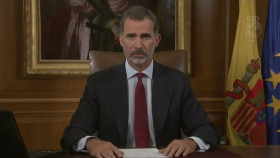 The King of Spain delivers his TV address Tuesday night.