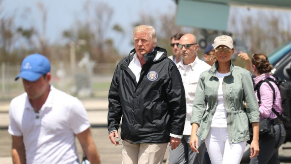 CAROLINA, PUERTO RICO - OCTOBER 03:  President Donald Trump and Melania Trump arrive on Air Force One at the Muniz Air National Guard Base for a visit after Hurricane Maria hit the island on October 3, 2017 in Carolina, Puerto Rico.  The President has been criticized by some that say the governmentÕs response has been inadequate.  (Photo by Joe Raedle/Getty Images)