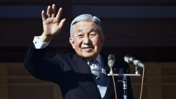 Akihito greets the public on his 81st birthday in December 2014. He ascended to the throne after his father
