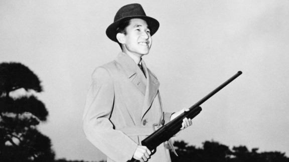 Akihito during a shooting trip circa 1955.