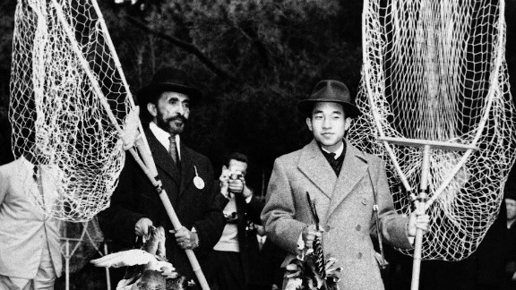 Akihito joins Ethiopian Emperor Haile Selassie for a hunt outside Tokyo in November 1956.