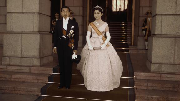 Akihito and his wife after their wedding ceremony.
