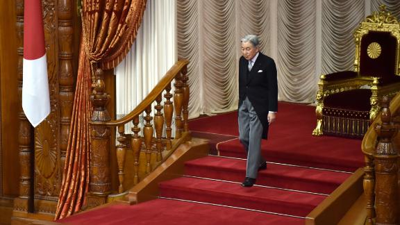Akihito leaves after speaking at the opening ceremony of the Diet, Japan's parliament, in January 2017.