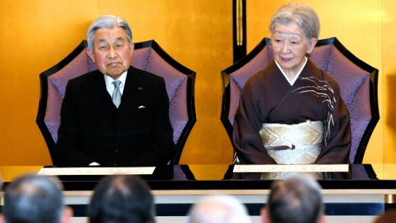 Akihito and Michiko attend the Japan Art Academy Award Ceremony in June 2017.