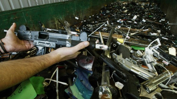 (AUSTRALIA & NEW ZEALAND OUT) Thousands of handguns handed in for the gun amnesty and the gun buy back scheme. The weapons have been rendered safe and will be melted down, 20 July 2004. SMH Picture by NICK MOIR (Photo by Fairfax Media/Fairfax Media via Getty Images)