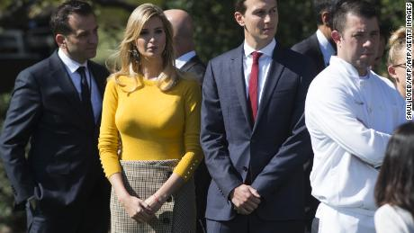 Ivanka Trump, daughter of US President Donald Trump, and her husband, Senior White House Adviser Jared Kushner, arrive for a moment of silence on the South Lawn of the White House in Washington, DC, October 2, 2017, for the victims of the shooting yesterday in Las Vegas, Nevada. / AFP PHOTO / SAUL LOEB        (Photo credit should read SAUL LOEB/AFP/Getty Images)