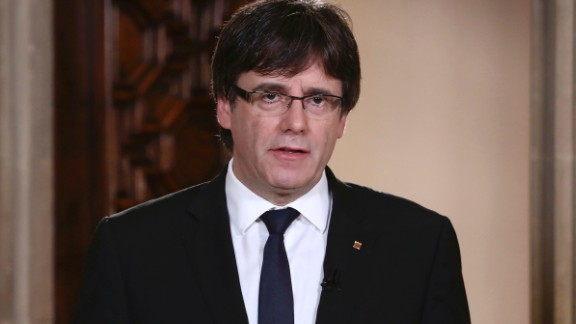 Catalan President Carles Puigdemont speaks during a statement at the Palau Generalitat in Barcelona, Spain, on Wednesday, Oct. 4, 2017. Catalonia's regional president, Carles Puigdemont, is addressing regional lawmakers on Monday to review a referendum won by supporters of independence from Spain on Oct. 1. (Jordi Bedmar/Presidency Press Service, Pool Photo via AP)