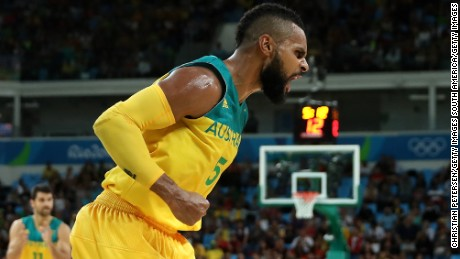 Mills celebrates a basket during the Men's Basketball Bronze medal game between Australia and Spain at the Rio 2016 Olympic Games, August 21.
