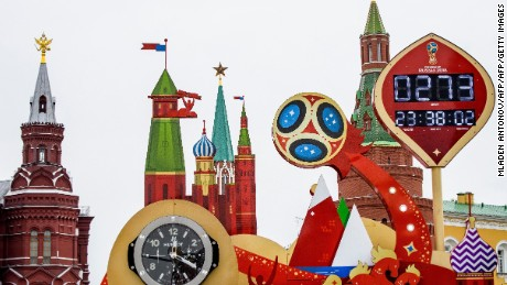 A photo taken on September 13, 2017 shows the digital FIFA World Cup 2018 countdown clock placed in front of the Red Square and the Kremlin in Moscow. FIFA announced that ticket sales for the 2018 World Cup will begin on September 14, 2017, nine months to the day ahead of the tournament's kicks off in Russia. The World Cup will be played at 12 venues in 11 Russian cities -- Moscow, Saint Petersburg, Sochi, Kazan, Saransk, Kaliningrad, Volgograd, Rostov-on-Don, Nizhny Novgorod, Yekaterinburg and Samara. / AFP PHOTO / Mladen ANTONOV        (Photo credit should read MLADEN ANTONOV/AFP/Getty Images)