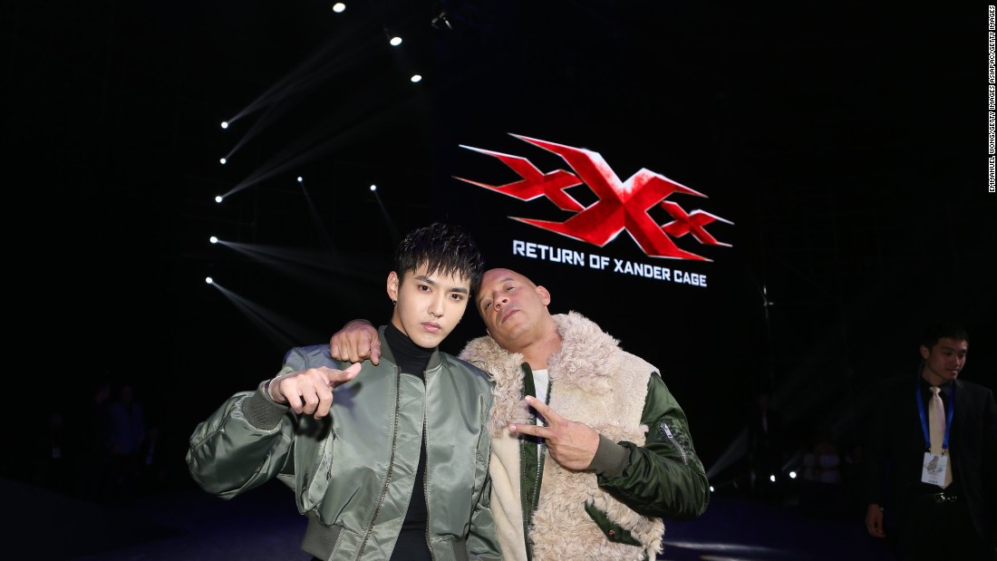 "Vin Diesel (R) and Kris Wu attend a press conference for ""xXx: Return of Xander Cage"" in Beijing, China."