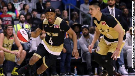 Terrence Jenkins of Team USA and Kris Wu of Team Canada during the NBA All-Star Celebrity Game in 2016 in Toronto.