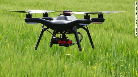 Drone equipped with a multi-spectral sensor used for collecting crop growth data.