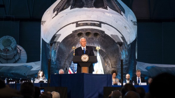 Vice President Mike Pence delivers opening remarks during the National Space Council's first meeting, Thursday, Oct. 5, 2017 at the Smithsonian National Air and Space Museum's Steven F. Udvar-Hazy Center in Chantilly, Va. The National Space Council, chaired by Vice President Mike Pence heard testimony from representatives from civil space, commercial space, and national security space industry representatives.  Photo Credit: (NASA/Joel Kowsky)