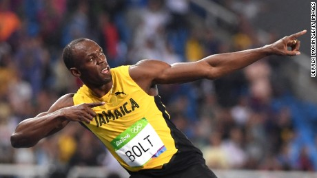 "Bolt celebrates with his famous ""Lightning Bolt"" pose after winning the Men's 200m Final at the 2016 Rio de Janerio Olympic Games."