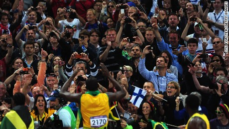 Usain Bolt celebrates at London 2012 Olympics