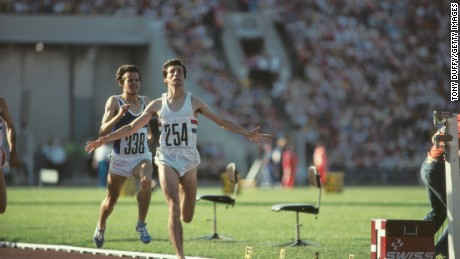 Sebastian Coe crosses the finish line to win 1500m gold at the 1980 Moscow Olympics.