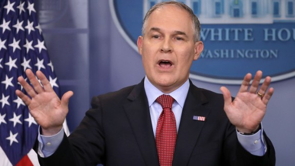 Environmental Protection Agency Administrator Scott Pruitt answers reporters