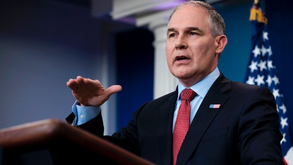 Environmental Protection Agency Administrator Scott Pruitt speaks during a briefing at the White House June 2, 2017 in Washington, DC.