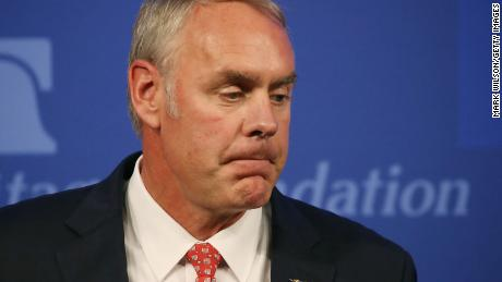 "Interior Secretary Ryan Zinke delivers a speech billed as ""A Vision for American Energy Dominance"" at the Heritage Foundation on September 29, 2017 in Washington, DC."