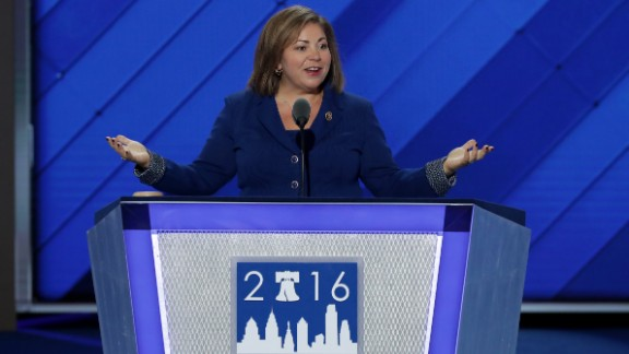 Rep. Linda Sánchez (D-CA) of the Congressional Hispanic Caucus, delivers remarks on the first day of the Democratic National Convention at the Wells Fargo Center, July 25, 2016 in Philadelphia, Pennsylvania.