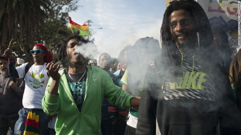Campaigners in Cape Town march for the legalization of marijuana.