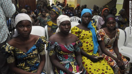 Some of the Chibok girls freed in swap deal with Boko Haram last year.