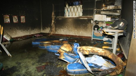 Inside the municipal daycare center in Brazil where a watchman started a fire on October 5.
