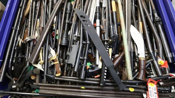 Weapons that were handed in are seen at the Victoria Police Forensic Services Centre on August 11 in Melbourne.