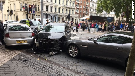 Photo shows car collision on Exhibition Street